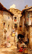 A Roman Courtyard In Summer - Vicente March Y Marco