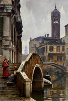 The Ponte Dei Pugni Venice with The Campanile of Sta Fosca Beyond - William Logsdail